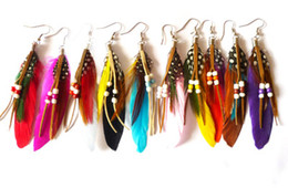 Wholesale Mixed Feather Earring - fashion Indian Bohemian feather earrings 10cm multicolor 24pairs mix cheap wholesale