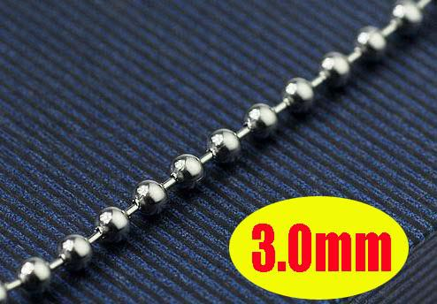 Lover Male Lady Men's Women's Stainless Steel Ball Beads Chains Necklace 3.0mm 20 pcs Jewellery Mix