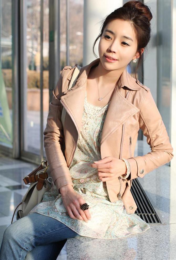 New Autunno / Inverno Moda Donna Motobycle Outwear UP Giacca in pelle Cappotto corto Rosa