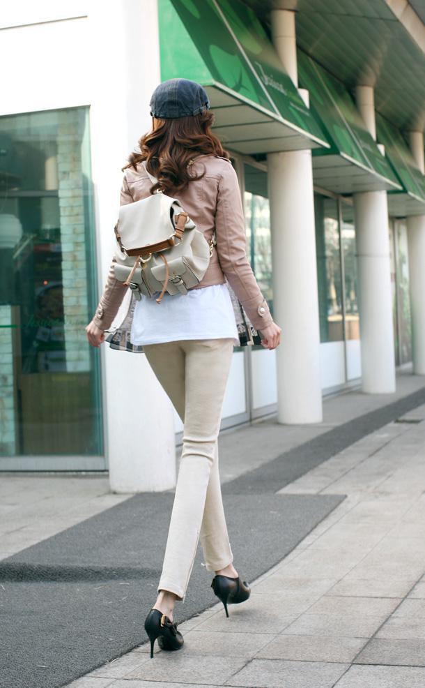 Neue Herbst / Winter Damenmode Motobycle Outwear UP Lederjacke Kurzmantel Pink