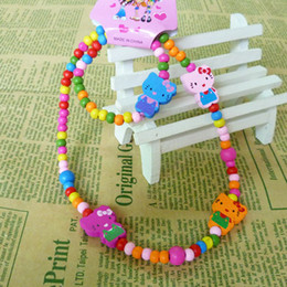 Wholesale Cheap Kids Bracelets - Kid necklace bracelet jewelry set wood Children jewelry cheap wholesale