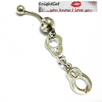 Wholesale Steel Manacles - Navel Belly Button Ring piercing Body Jewelry Hot Sexy Cute Accesories Handcuffs Manacle 10Pcs