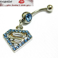 Wholesale Sexy Accesories - Navel Belly Button Ring piercing Body Jewelry Hot Sexy Cute Accesories Superman Fashion Logo 10Pcs