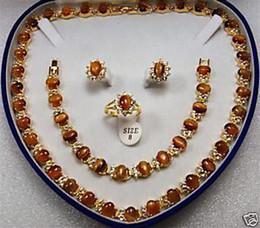 Wholesale Cheap Peridot Necklace - Wholesale cheap Deluxe Jewelry Tawny tigereye necklace bracelet Earrings rings set