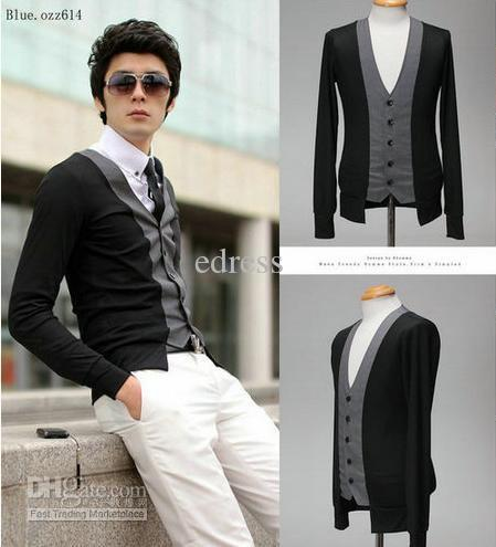 2018 Mens Knitwear V Neck Sweater Black Cardigan False Two Piece ...
