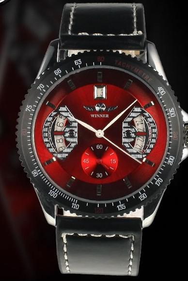Sıcak Satış Kazanan erkek Otomatik Mekanik Saatler Analog siyah deri Kırmızı Dial Erkek Bilek İzle.