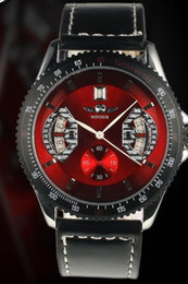 Wholesale Red Winner Watch - Hot Sale Winner Men's Automatic Mechanical Watches Analog black leather Red Dial Mens Wrist Watch.