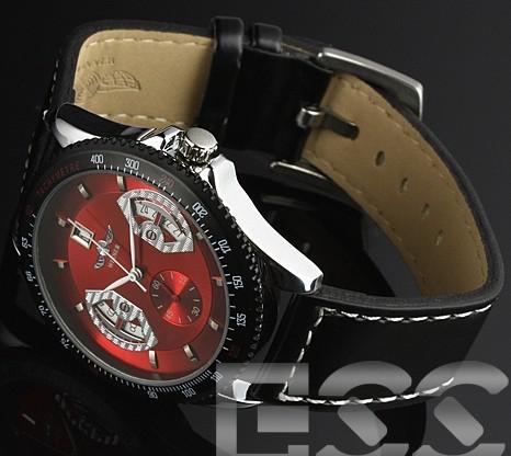 Venda quente do vencedor homens relógios mecânicos automáticos de couro preto analógico vermelho Mens Dial Watch Wrist.