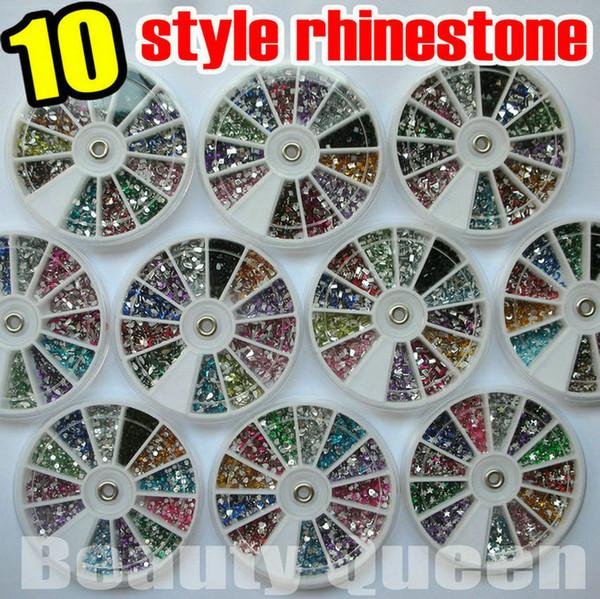 best selling 10 style shape Nail Art Rhinestone 1800pcs 12color Glitter beads Acrylic Tips acrylicstone in Wheel