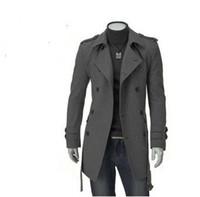 trinchera de corea al por mayor-2015 primavera nuevos hombres de Corea del sur de lana solapa grande doble botonadura delgada Trench Coat para hombre abrigos abrigos 1166