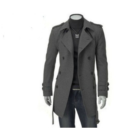 Wholesale Trench Coat Mens Large - 2015 Spring new South Korea Men's Woolen Large lapel Double Breasted Slim Trench Coat mens outwear coats 1166