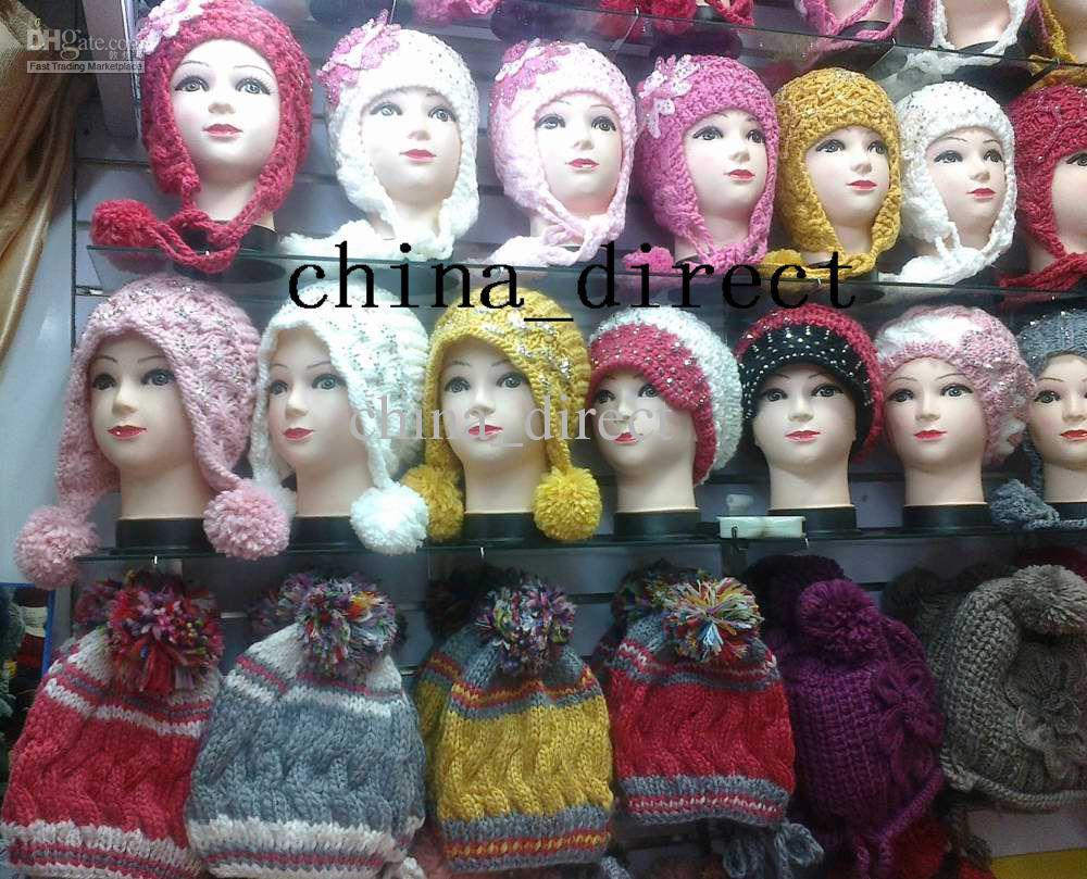 Dziewczyna Crochet Knitting Flower Earmuffs Beanie Hat Beret Hat Cap 20 sztuk / partia # 1599