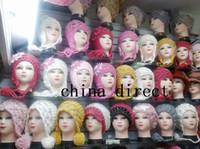Wholesale flower knitted hats girl resale online - girl crochet knitting flower earmuffs beanie hat beret hat cap