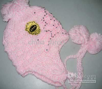 girl crochet knitting flower earmuffs beanie hat beret hat cap #1599