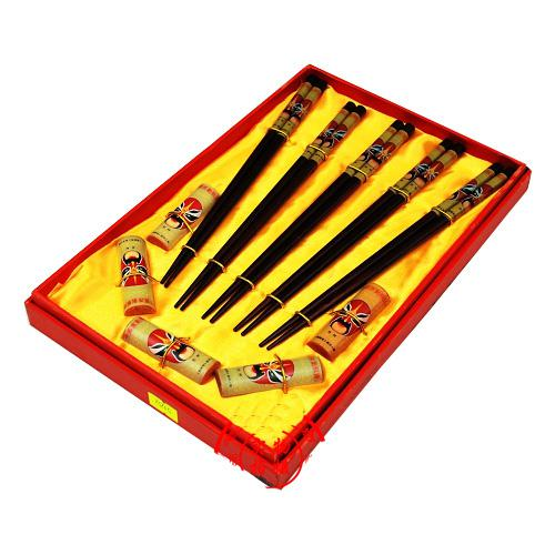 Hardcover Chinese style 5 Chopsticks Sets Gifts Wooden Printed beijing Opera Free shipping