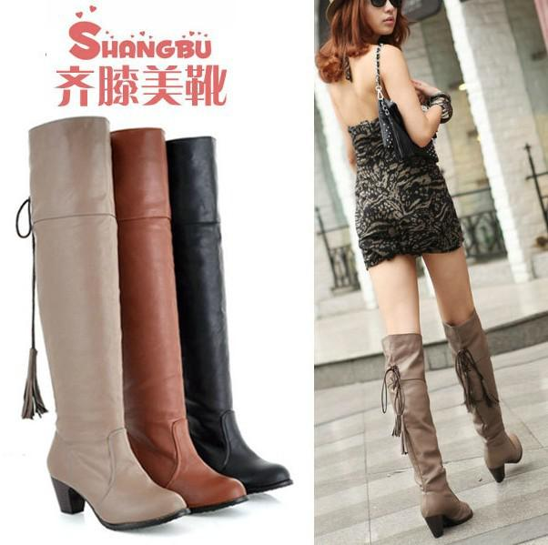 Low Heel Popular Tall Cut Pu Leather Boots Women Boots Increase The