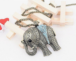 Wholesale Elephant Necklace Retro - Free shipping!! Retro diamond elephants necklace. Fashion crystal elephant sweater chain.20pcs lot.