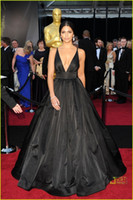 Wholesale Evening Gown Xs - Camila Alves 2015 Celerity Dresses Oscar V-neck Red Carpet dress Ball Gown evening dress Black Satin celebrity Gowns Formal Dress XS-011