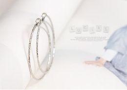 Wholesale Big Hoop Earrings Free Shipping - 60mm 12pairs Big Circle Earrings Gold Plated Earring Hoops Earrings 20 Free Shipping