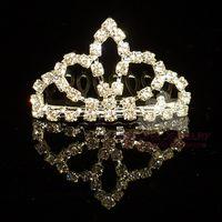 Wholesale Rhinestone Tiara Assorted - Rhinestone Tiara Comb Crown Tiara Crystal Hair Jewelry 60pcs lot assorted styles free shipping