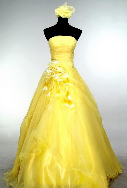 Bright yellow ball wedding dress prom gown custom size for Can a yellowed wedding dress be whitened