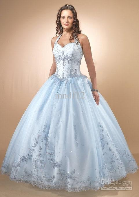 Baby Blue Wedding Dresses Proms Ball Gowns Bridal Gowns Silver Prom ...