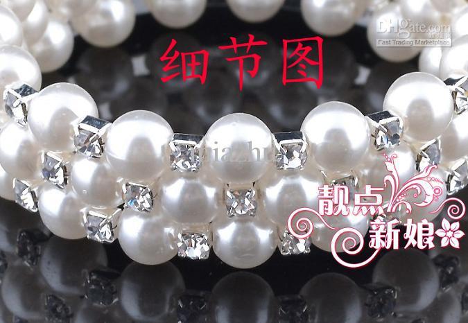 패션 주얼리 팔찌 웨딩 신부 팔찌에 대 한 둘러싸여 조정 가능한 다이아몬드 크리스탈 진주 팔찌의 세 행