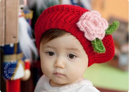 Barato Boné Crochet Primavera-New Cute Spring / Autumn / Winter Knit Crochet Beanie Red Hat para bebê Kids Girls Christmas Gift