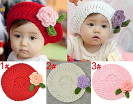 Wholesale Girls 3pc Pink - 3pc New Cute Spring Autumn Winter Knit Crochet Beanie Hat For Baby Kids Girls Christmas Gift