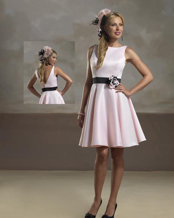 Short Pink Bridesmaid Dress With Black Sash And Handmade