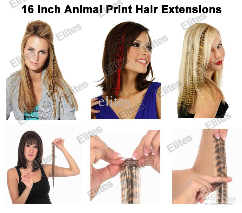 Best 16 Animal Print Synthetic Feather Hair Extension Leopard