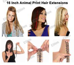 """2019 cabelos loiros curtos naturais da trama 16 """"extensões de penas de zebra de estepe de leopardo de extensão de cabelo sintético de impressão animal penas APE004"""