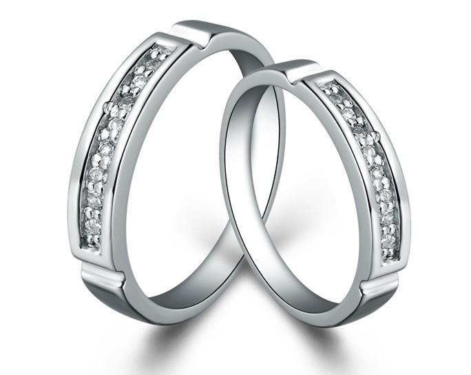 2014 Fashion Bridal Wedding Rings Silver Ring Couple Swiss Diamond Christmas Gifts 013