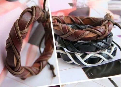 Cadeaux de Noël Vintage en cuir Cordon Tresse Bracelets amoureux à la main réglable Stock Nouvel arrivée cadeaux de Noël /