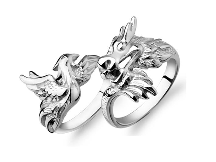 2018 2014 Fashion Couple Rings Bridal Wedding Dragon Sterling Silver Ring Christmas Gifts From Good Girls 3607