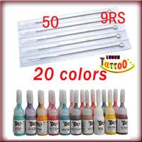 9rs nadeln großhandel-Tattoo Zubehör Tattoo Tinten Pigment 20 Farbe 50 9RS Nadeln für Tattoo Kit