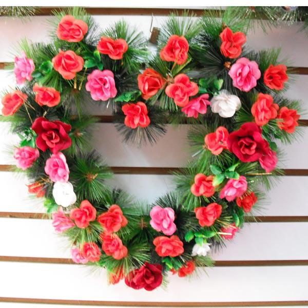 free shipping heartshaped christmas ornament christmas wreath with artificial flowers dia 157 in