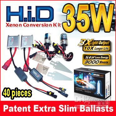 12V 35W Silver Slim Ballasts HID Xenon Conversion Kits 2 Bulbs + 2 Digital Slim Single Beam