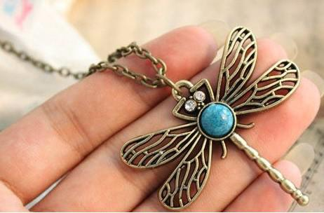 Pendant Necklaces Woman Girl Sweater Jewellery Necklaces Bohemian blue dragonfly Vintage Necklaces 7