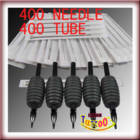 Wholesale Disposable Tube Grips - 400 Sterile TATTOO NEEDLES + 400 DISPOSABLE GRIPS TUBES 25mm 1'' Black Color Supply
