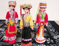 Wholesale Wooden Chinese Doll - Kid's Gift Doll Chinese Ethnic Doll Fashion Craft Dolls with Packing Box 10pcs mix Free