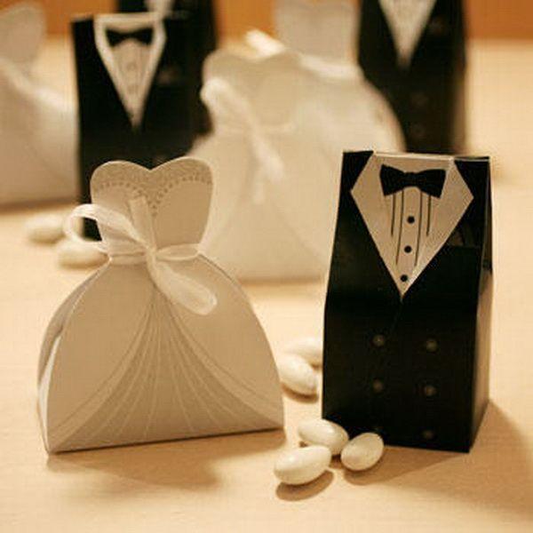 Bridal Gift Cases Groom Tuxedo Dress Gown Ribbon Wedding Favor