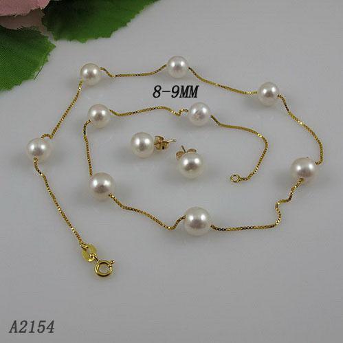 Pearl Necklace 18inchs 8-9mm vit naturlig sötvattenspärla tennkopp halsband Örhänge Fri frakt