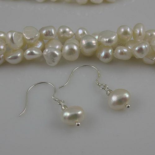 Collana lunga perle 3Rows 7-8mm Bianco Genuine Attrazioni d'acqua dolce perla orecchino Spedizione gratuita