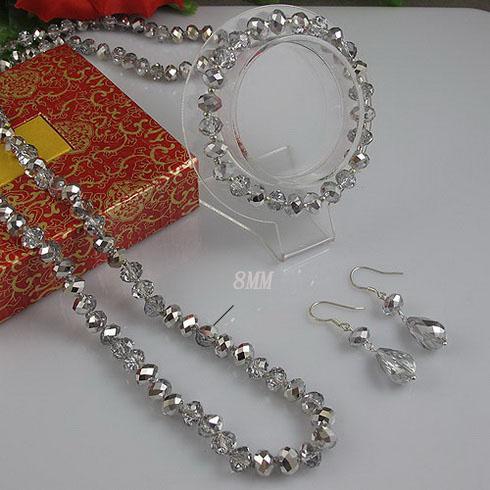 Lange Kristallhalskette 60inch 6x8mm graue Kristallhalskette 8inch Armband-Silberohrring freies Verschiffen
