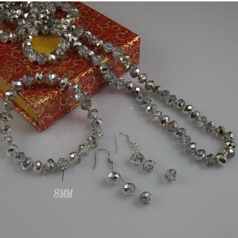 Långt kristall halsband 40 tums 6x8mm grå kristall halsband 8 tums armband silver örhänge fri frakt