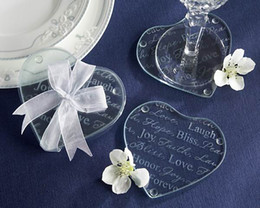 Wholesale Birthday Wedding Wishes - FREE SHIPPING! 30pcs=15sets lot,Good Wishes Heart Glass Coasters Wedding Favors,Party Decoration Gifts (2pcs  Set)