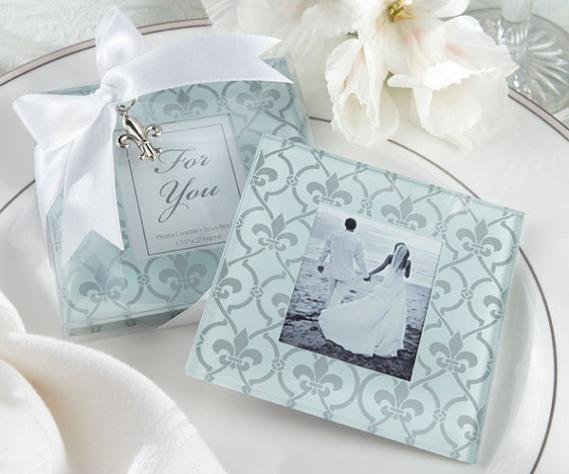 """!=! Fleur-de-Lis"""" Frosted-Glass Photo Coasters with CHARM and Satin Ribbon Bow Wedding Favors- / Set"""