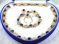 Wholesale Blue Sapphire Ring Cheap - Wholesale cheap 14kGP Yellow gold blue sapphire necklace bracelet ring