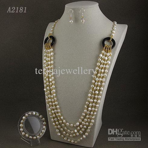 Pearl Naszyjnik 5Rows 5-6mm CrystalWhite Oryginalne Słodkowodne Pearl Naszyjnik BCE Darmowa Wysyłka A2181